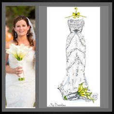 Dreamlines wedding dress sketch given as a wedding day gift to the bride, wedding gift, bridal shower gift, Christmas gift and one year paper anniversary gift. Wedding gift from groom to bride, bride gift, gift from groom, gift from groom to bride, wedding day gift, wedding day gift for bride, wedding day gift from groom.www.MyDreamlines.com