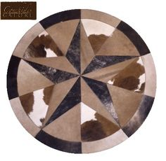 """CowhidesGalore.com Here is the BEST Value Cowhide Rug we Carry!!! Each Rug is Unique in Color Combinations, So Get Your Favorite Color Before It's Gone!!! 40"""" Round Single 3-D STAR Cowhide Rug Item #46R40 $115.00 + FREE Shipping to the Lower 48 States Sale Reg. $149.99 Messsage us with the Item # and your e-mail address to purchase!"""