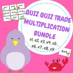 Quiz Quiz Trade is a fun and engaging cooperative group work activity! My students love practicing automatic recall of their multiplication facts using this game. This file includes x1, x2, x3, x4, x5, x6, x7, x8 and x9 number facts - and I have used a cute animal theme! -Print number
