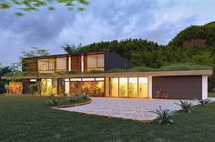 New contemporary architectural home. Blue mountains. Glass, timber, stone.