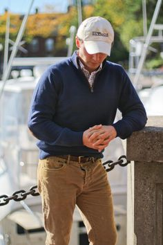 Yachty: Shane enjoying New England fall dockside.   What to Wear: Vineyard Vines Captains 1/4 zip sweater,  L.L. Bean Signature Cords, Dockers Belt, Vineyard Vines Timberlake Murray shirt, Vineyard Backwater hat -Yachtys