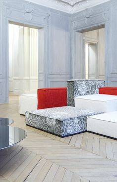 Grey and red cushions, Lelievre. http://www.facebook.com/kenisa.home