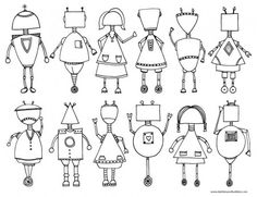 Printable Robot Coloring Page - Dabbles & Babbles