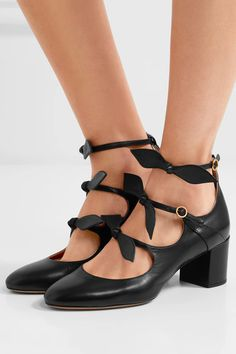 Chloé - Mike Bow-embellished Leather Mary Jane Pumps - Black - IT37