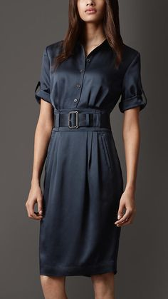 #Burberry - SILK BELTED SHIRT DRESS