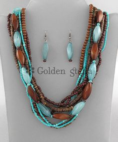 Turquoise and Brown--notice the way the small tourquoise beads are beaded