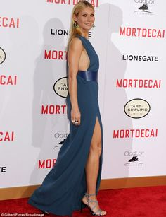 Gwyneth Paltrow reveals sideboob in thigh-split gown at Mortecai premiere in LA | Daily Mail Online