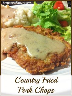 Country Fried Pork Chops. These came out perfectly, with a delicious crispy breading complete with homestyle milk gravy.