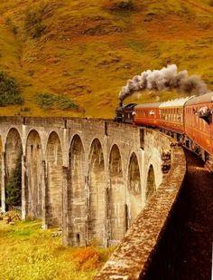 Glenfinnan viaduct.  Scottish Highlands. My favourite train journey ♥