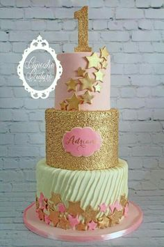 Star gold and mint first birthday cake
