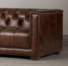 7' Savoy Leather Sofa