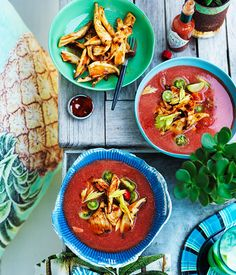 Australian Gourmet Traveller recipe for chilled spiced tomato soup with barbecued squid.