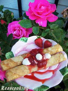 """Lea's Cooking: Sweet Crepes Filled with Ricotta """"Блины с творогом"""""""