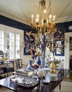 Dark blue walls & white trim - what my future dining room will look like