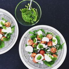 Mozzarellasalad with homemade pesto. Healthy and green food.