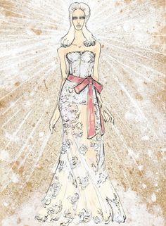 Lucio Palmieri - Beatrice  History, Myth and Fashion: The Divine Comedy Revisited    단테의 여인 베아트리체는 이 패션쇼의 주인공이다. 뒤에서 뿜어나오는 광채와 눈부신 흰색 드레스, 그리고 붉은 허리띠는 전체적으로 천국과 순결함의 이미지를 부각시킨다.