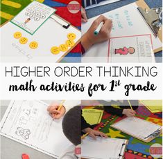 Higher order thinking math tasks and activities for first grade. Students challenge themselves with these fun tasks that get them thinking about math.