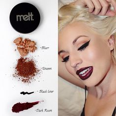 Obsessed with Boss Lady @danabomar 's perfect cut crease and sharp wings!! These are the products she used to create this gorgeous look Pssst! If you guys haven't already heard, DARK MATTER is coming back THIS month!!! Yey! Sign up to our newsletter to find out the exact restock date xoxo* #meltcosmetics #meltdarkmatter #meltdarkroom