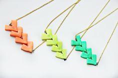 Arrow Neon Geometric Clay  Necklace