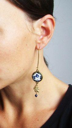 Boucles d'oreilles bleu ethnique 3 types par Bouclelacreations