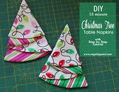 DIY Christmas Tree Table Napkin Tutorial