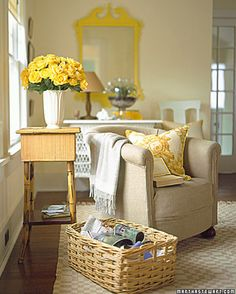 Tan and beige are highlighted by pops of yellow. The yellow accents help to brighten the room's atmosphere.