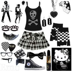 emo, created by purpleblackblue on Polyvore  I love this set xD so cute!