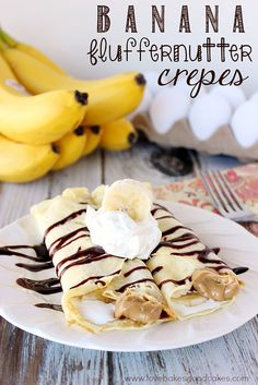 Whether for a weekend brunch or a weeknight dinner, these Banana Fluffernutter Crepes are delicious and easy! I never had crepes as a child. Apparently, I had a very deprived childhood. Köstliche Desserts, Delicious Desserts, Dessert Recipes, Yummy Food, What's For Breakfast, Breakfast Recipes, Breakfast Dishes, Brunch Recipes, Dinner Recipes