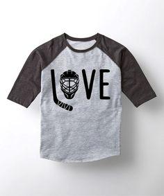 Heather Black 'Love' Hockey Raglan Tee - Toddler & Kids #zulily #zulilyfinds