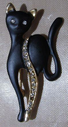 vintage cat jewelry | Vintage Jewelry Enamel Rhinestone Black Cat by DLSpecialties