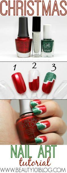 This Christmas Nail Tutorial is SO easy!! I'm obsessed! #Christmas #nailart #Nailpolish