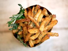 Garlic and rosemary french fries...to die for...great with a microbrew...