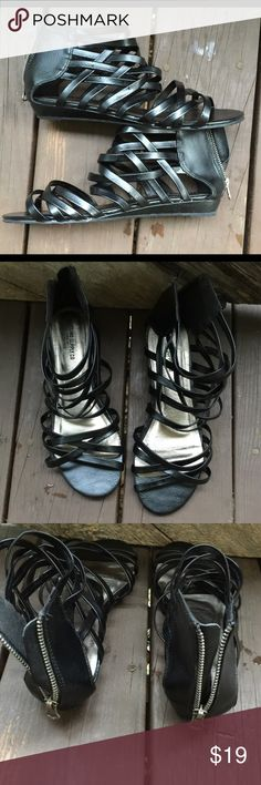 Mossimo Supply Co. sandals size 8 1/2 Mossimo Supply Co. sandals size 8 1/2. This is a great pair of black gladiator type sandals. They have zippers in the back and are in great shape. Please view all pictures. Mossimo Supply Co. Shoes Sandals