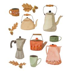 "laurabernard-illustration: ""Autumn leaves and teapots 🍂 "" Art And Illustration, Food Illustrations, Watercolor Illustration, Watercolour, Buch Design, Gouache, Zine, Cute Art, Autumn Leaves"