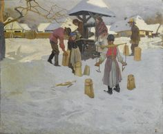 Alfons Karpinski (Polish, 1875-1961) Family around a well 87.5 x 106.5 cm (34 1/2 x 41 3/4 in)