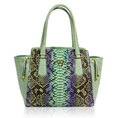 Ghibli Italian Designer Turquoise Python Leather Large Flared Purse Tote Bag - Handbag