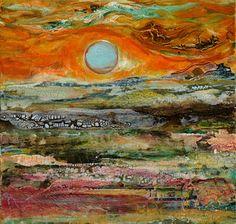"Abstract Artists International: Mixed Media Abstract Painting ""Sunset"" by Santa…"