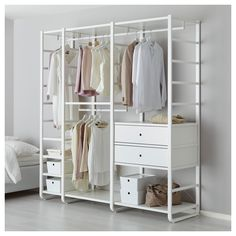 Buy online or in-store. ELVARLI 3 sections, white. ELVARLI storage system adapts to your space. The open solution with durable bamboo shelves creates an attractive display of your belongings. Ikea Elvarli, Ivar Regal, No Closet Solutions, Bedroom Storage Solutions, Ikea Bedroom Storage, Couple Room, Bamboo Shelf, Painted Drawers, Plastic Drawers