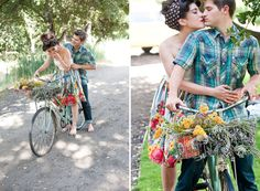 Archive Rental's lovely mint bicycle is the perfect prop for this fun couple's engagement session. It just screams summer lovin'!