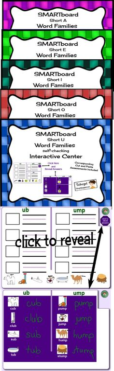 SMARTboard Word Family Combo Set of 5 Short Vowel Centers--Word Work or Complement to Word Study/ Words Their Way