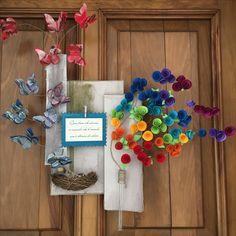 Fuoriporta con fiori e farfalle di carta e fil di ferro - primavera - Pasqua - colori - arcobaleno