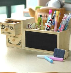 Wooden Desk Organizer / Pen Pencial Holder / Jewelry Organizer/ Office Supplies with two drawers and Message Boards-in Pen Holders from Office & School Supplies on Aliexpress.com | Alibaba Group