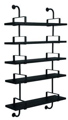 GUBI // Demon Shelf 5 shelves, width 95 cm in black. Designed by Matheiu Matégot