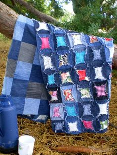 A quilt made from old jeans and fabric scraps! Love this.