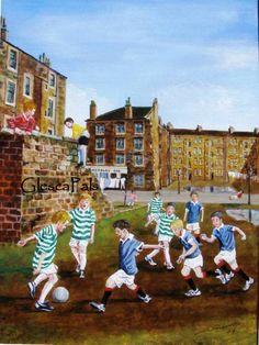 Glasgow street weans - Ah yes . I remember this scene Jenny Saville, Celtic Fc, Glasgow Scotland, Old Photos, Dolores Park, Childhood, Memories, Street, Canvas