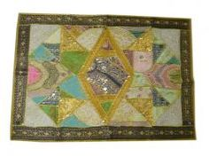 Patchwork Sari Throw, Olive Green Wall Tapestry