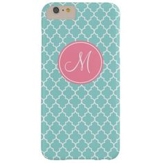 Monogram Aqua Quatrefoil Pattern iPhone 6+ Case Barely There iPhone 6 Plus Case