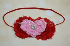 Valentines Baby Headband  Red Pink Children by AnniesChicBowtique