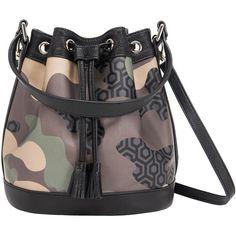 Mini Bucket Bag - Camo Green (€175) ❤ liked on Polyvore featuring bags, handbags, shoulder bags, drawstring purse, bucket purse, mini purse, bucket bags handbags and bucket handbag
