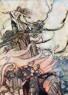 Siegfried leaves Brünnhilde in search of adventure (1911), by Arthur Rackham (1867-1939), from Act 1 of Götterdämmerung (1874), by Richard Wagner (1813-1883).